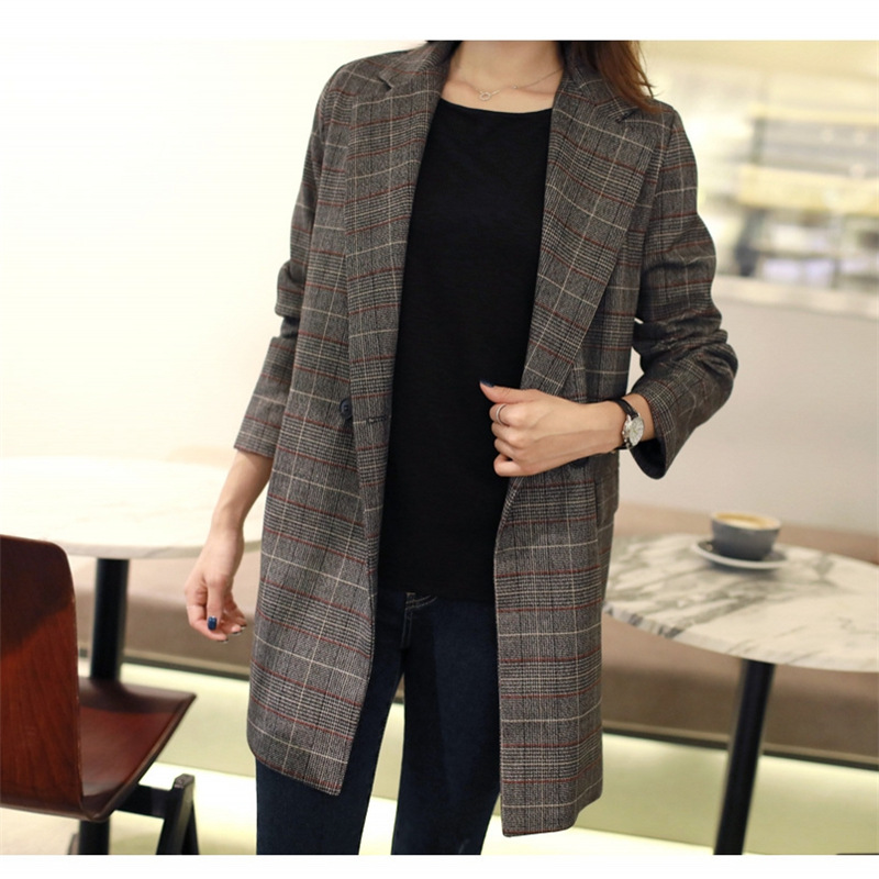 Temperament Women's Jacket Large Size High Quality 2019 New Long Double-breasted Ladies Blazer Female Red Plaid Autumn Suit