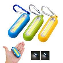 Mini torche de poche Portable, 3 Modes, lampe COB multicolore, avec batterie à bouton, porte-clés extérieur