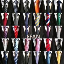 Neckties Jacquard Classic Navy-Blue Polka-Dots Yellow Stripe Fashion 100%Silk Solid-Tie
