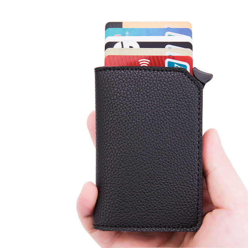 New Anti-theft Credit Card Holder Men Aluminum Wallet Automatic Coin Purse Back Pocket ID Card Holder RFID Blocking Mini Wallet