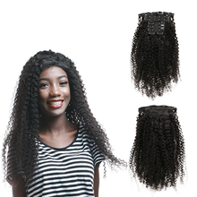 Clip in Hair Extensions Human Hair Full Head Brazilian Machine Remy Kinky Curly 120G/Set Hair Clip Natural Color 8-24 INCH