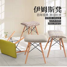 Modern solid wood dining chair sponge seat with cushion retro style dining stool for dining room living room desk furniture