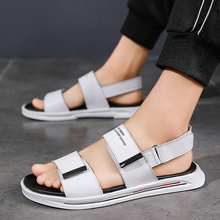 2020 new slippers mens summer fashion leather wear a word drag trend sandals outdoor non-slip men