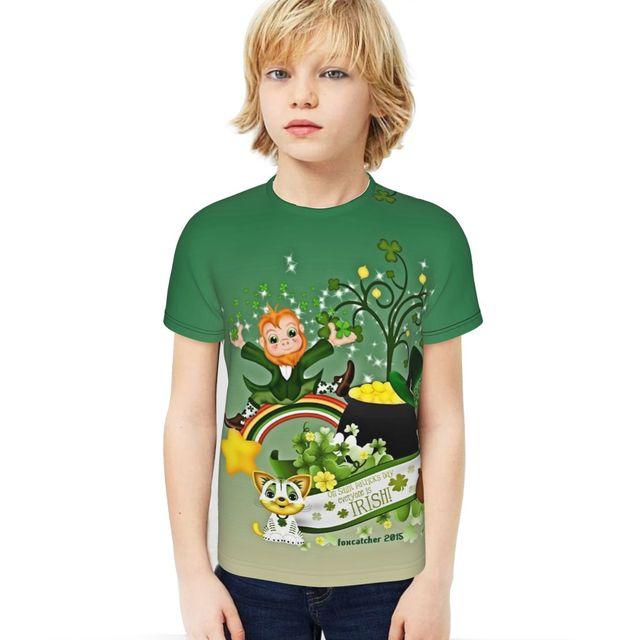 Teen 3D Printing Four Leaf Clover T-shirt Kids T-shirt Boy Clothing St. Patrick's Day Cartoon T-shirt Kids Summer Fun Casual Top 1