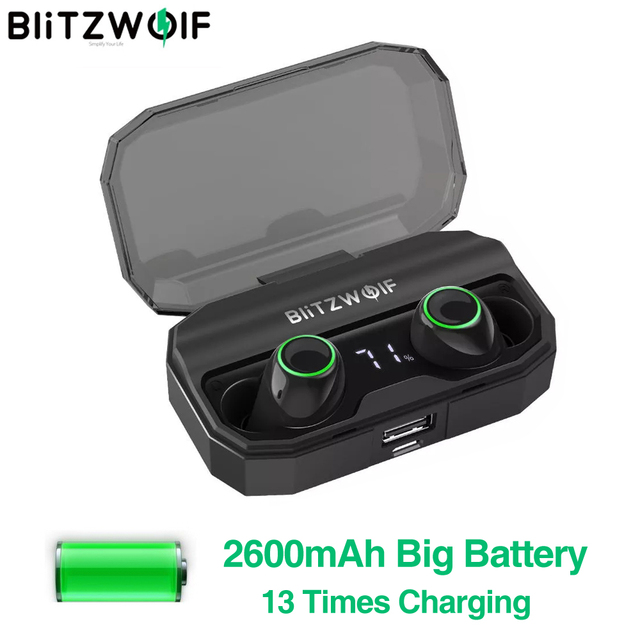 BlitzWolf FYE3S FYE3 TWS gerçek kablosuz Bluetooth 5.0 kulak kulaklık 2600mAh pil şarj dijital güç göstergesi spor kulaklıklar
