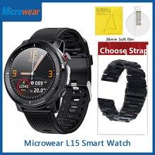ES Microwear L15 Smart Watch ECG Heart Rate Blood Pressure IP68 Waterproof LED Torch Light Fitness Tracker VS L12 L13 SmartWatch
