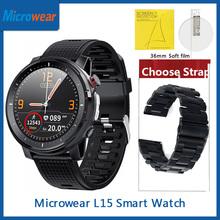 ES Microwear L15 inteligentny zegarek miernik tętna ekg ciśnienie krwi IP68 wodoodporna latarka LED lekka opaska monitorująca aktywność fizyczną VS L12 L13 SmartWatch tanie tanio CN (pochodzenie) Android OS Na nadgarstku Wszystko kompatybilny 128 MB Passometer Tętna Tracker Budzik Czas światowy