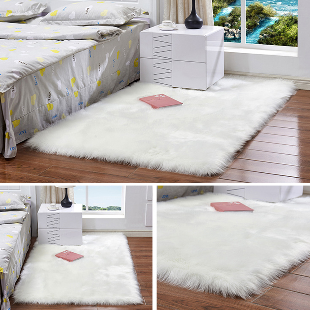 White Long Hair Fashion Bedroom Carpet Shaggy Silky Plush Carpet Faux Fur Rug Bedside Rugs Rectangle Sheepskin Fur Area Rugs