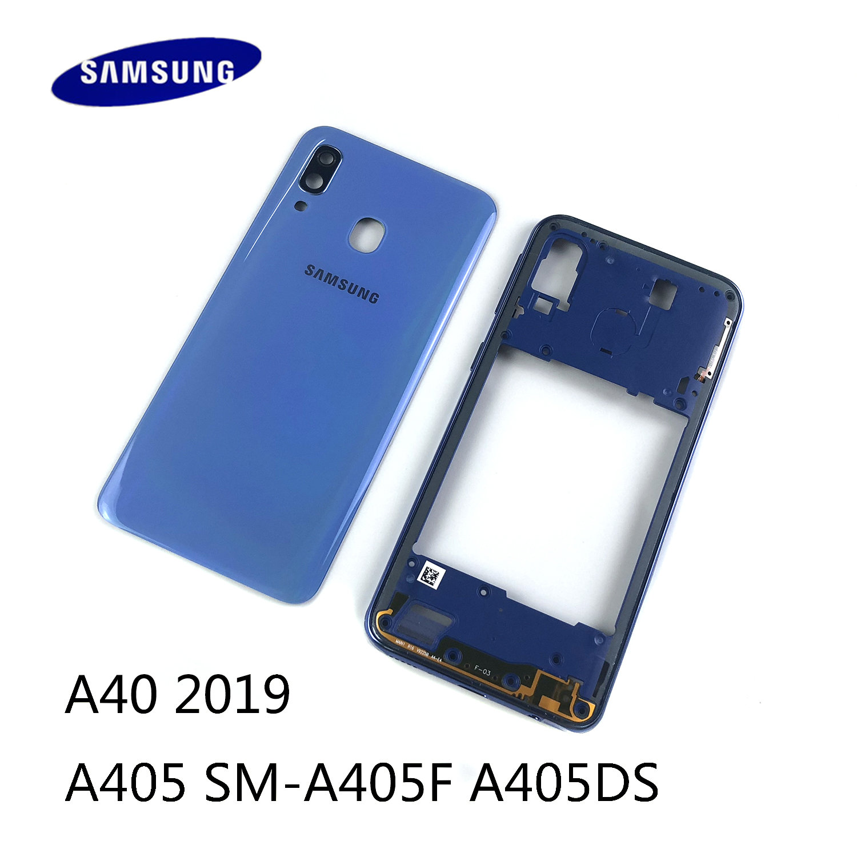 Для SAMSUNG Galaxy A40 2019 A405 SM-A405F A405DS корпус средняя рамка + задняя крышка батарейного отсека + крышка объектива камеры + логотип