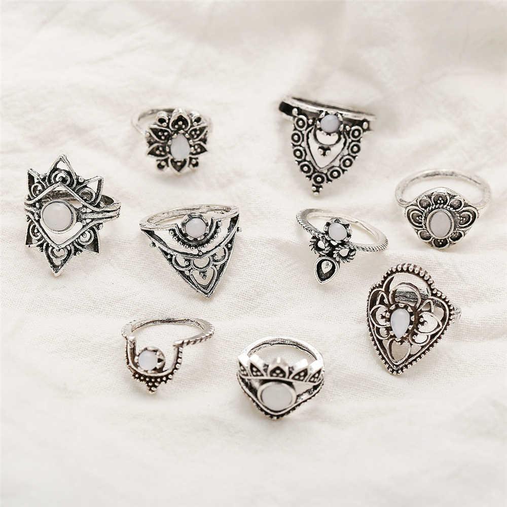 Винтажный серебряный цвет различные цветочные геометрические кольца наборы для женщин новый Бохо новые регулируемые модные кольца женский подарок на день Святого Валентина