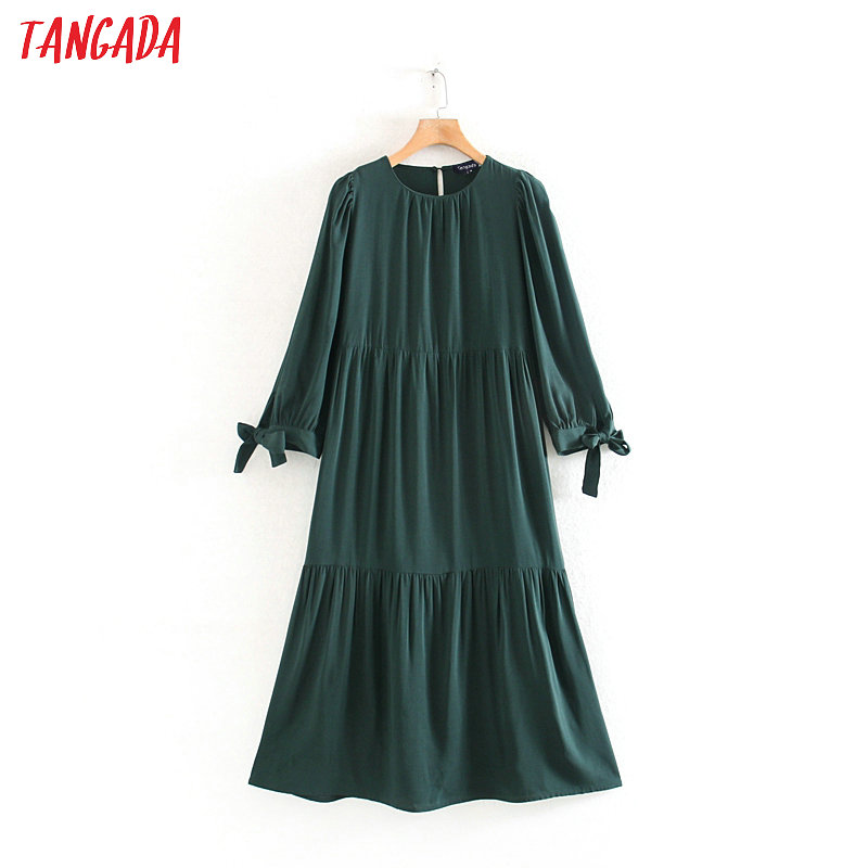 Tangada Women Elegant Green Pleated Dress O Neck Bow Three Quater Sleeve Fashion Office Lady Midi Dresses Vestido XN300