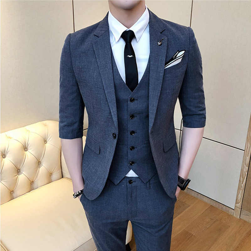 ( Jackets+Vest +Pants ) 2019 Brand clothing Fashion Men business suits/Male Pure cotton leisure groom dress Blazers  three-piece