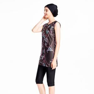 Image 5 - 3PCS נשים אסלאמי מוסלמי שרוולים תחפושות צנוע בגדי ים שחייה Burkini רחצה חליפה וחוף מודפס בגד ים אופנה