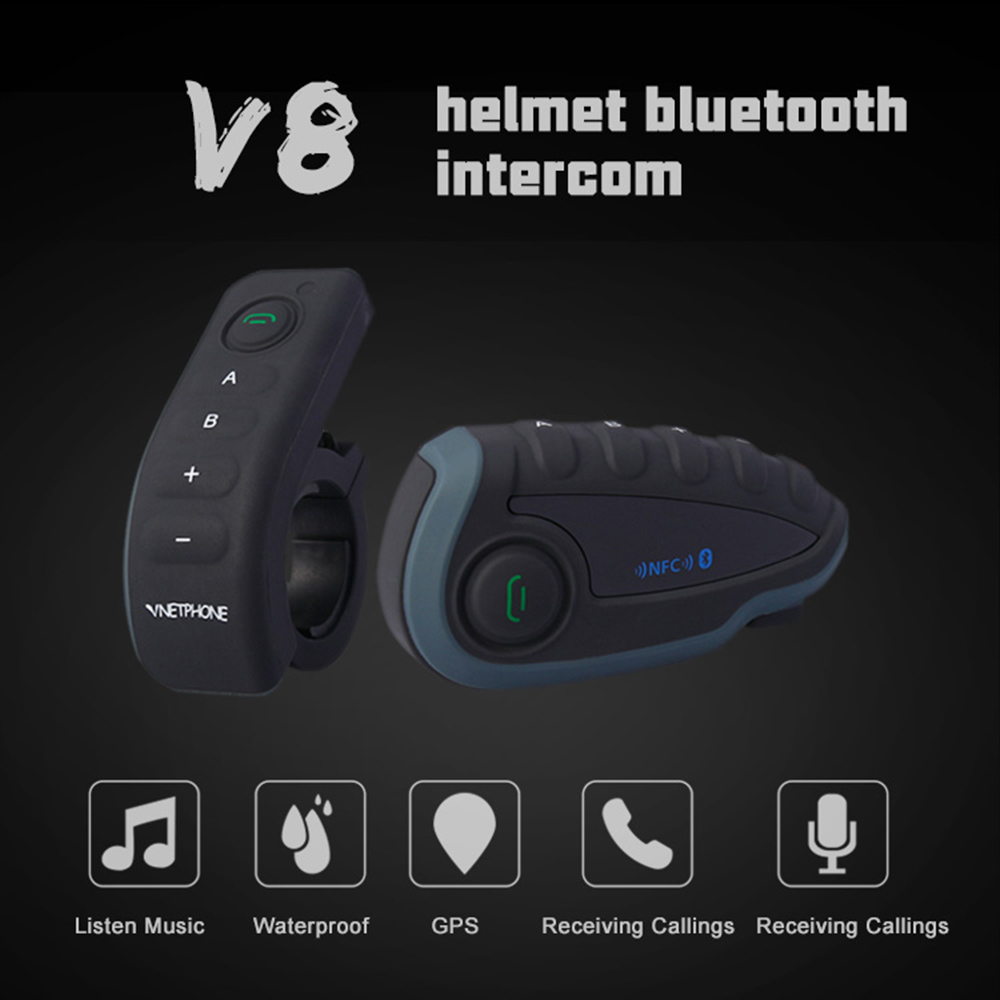 Vnetphone V8 BT Intercom Motorcycle Helmet Waterproof Interphone Headset Connecting To MP3/GPS/MOBILE
