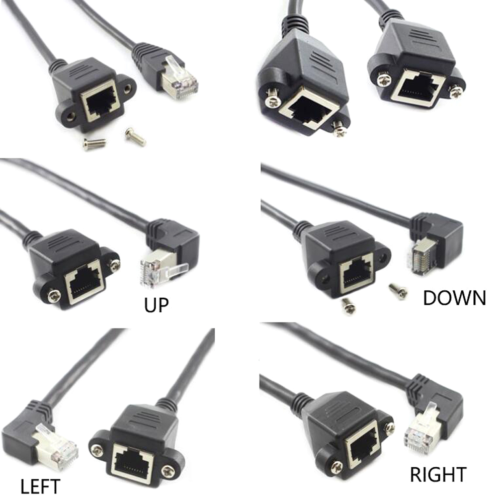 Right Anlge RJ45 Adapter Cat5e 8P8C FTP STP UTP RJ45 Male To Female Panel Mount LAN Ethernet Network Cable 0.3m 0.6m 1m 2m 3m 5m