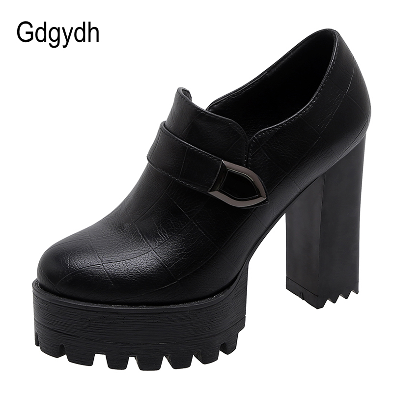 Gdgydh Spring Autumn Women Block Heel Shoes Platform Fashion Buckle Extreme High Heels Pumps Women Zipper Black Leather Party