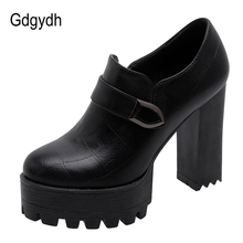 Gdgydh Spring Autumn Women Block Heel Shoes Platform Fashion