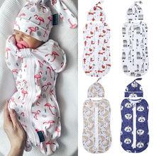 Pudcoco 5 Styles 0-6M Toddler Newborn Baby Boy Girl Sleepwear Cotton Zipper Swaddle Blanket Wrap Sleeping Bag Hat 2 Pieces