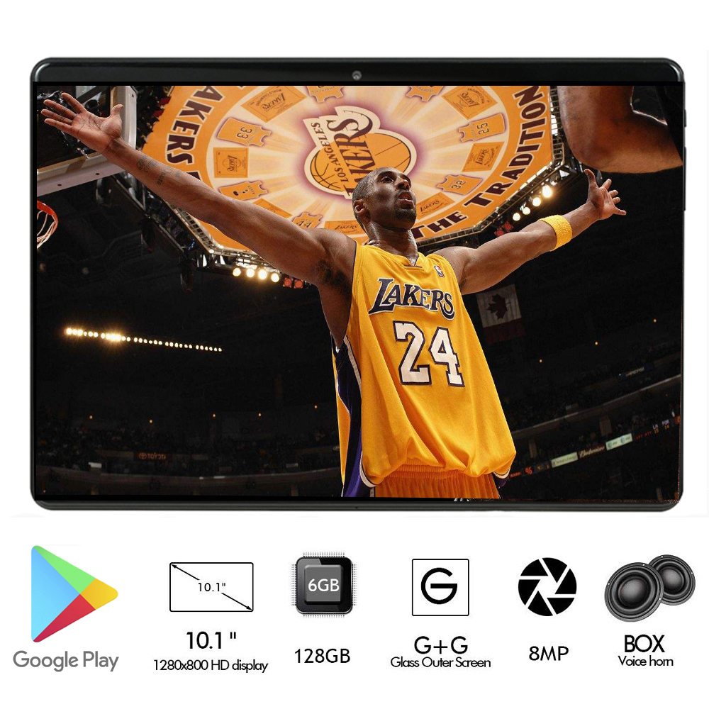 Newest 4G LTE 2.5D Tempered Glass 10 Inch Tablet Android 8.0 Octa Core 6GB RAM 128GB ROM 1280*800 IPS GPS 8.0MP DHL Free+Gifts