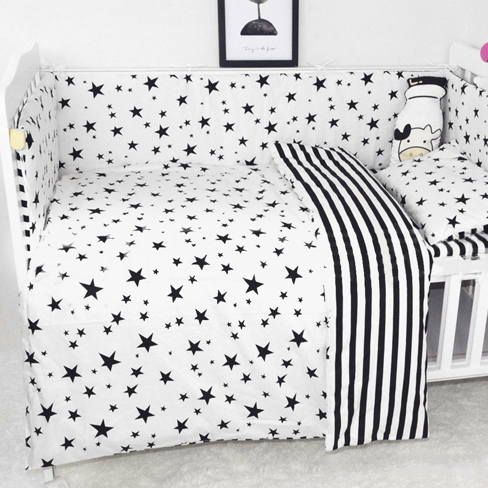 3Pcs Baby Bedding Set Soft Cotton Crib Sets Black White Cartoon Pattern Baby Cot Set Including Duvet Cover Pillowcase Flat Sheet