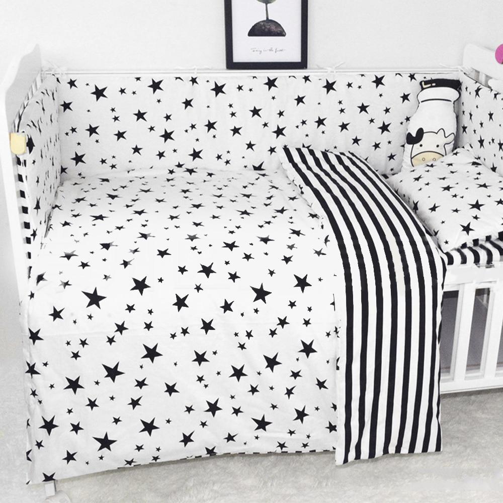 3Pcs Baby Bedding Set Soft Cotton Crib Sets Black White Cartoon Pattern Baby Cot Set Including Duvet Cover Pillowcase Flat Sheet