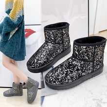 2019 New Women Graffiti Snow Boots Warm Short Fur Plush Glitter Winter Ankle Platform Ladies Suede Shoes Female Comfort