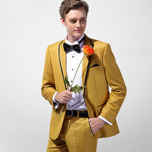 Mode Gele Mens Suit Twee Stukken Casual Slim Fit Suits Klaar Om(China)