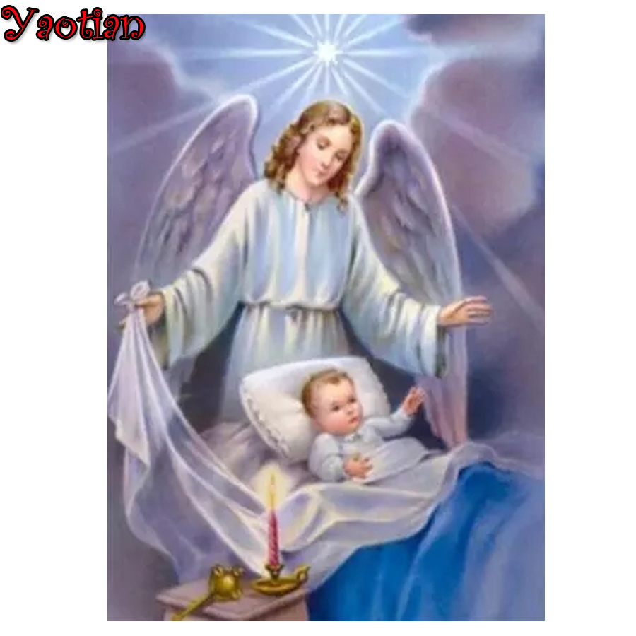 5D DIY Diamond Painting Cross Stitch Angel Guardian Baby Diamond Mosaic Full Square Diamond Embroidery for Adults and Beginner