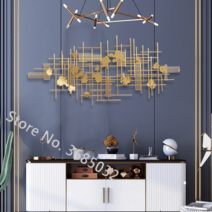 Modern American type Golden luxury Wall Hanging Ornaments Originality Metallic iron Art 3D Wall Decoration Large size 150/120cm