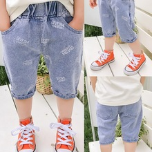 Children Short Jeans Trousers Baby Stretch Letter Summer 2-6year