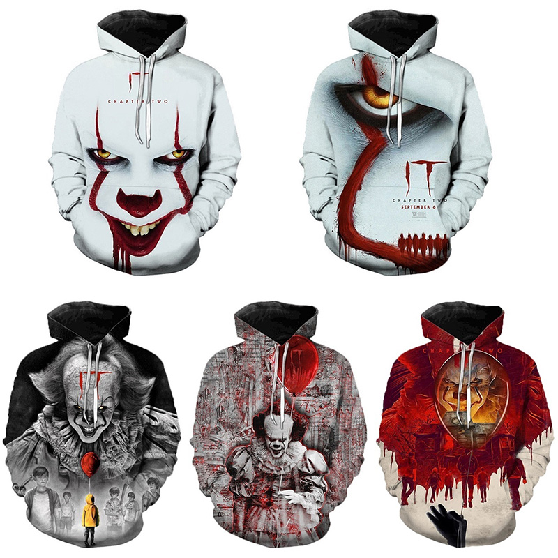 New Arrival IT Chapter Two Movie Pennywise Clown Stephen King 3D Hoodie Men Fashion Personaity Hip Hop Cool Pullover Sweatshirts