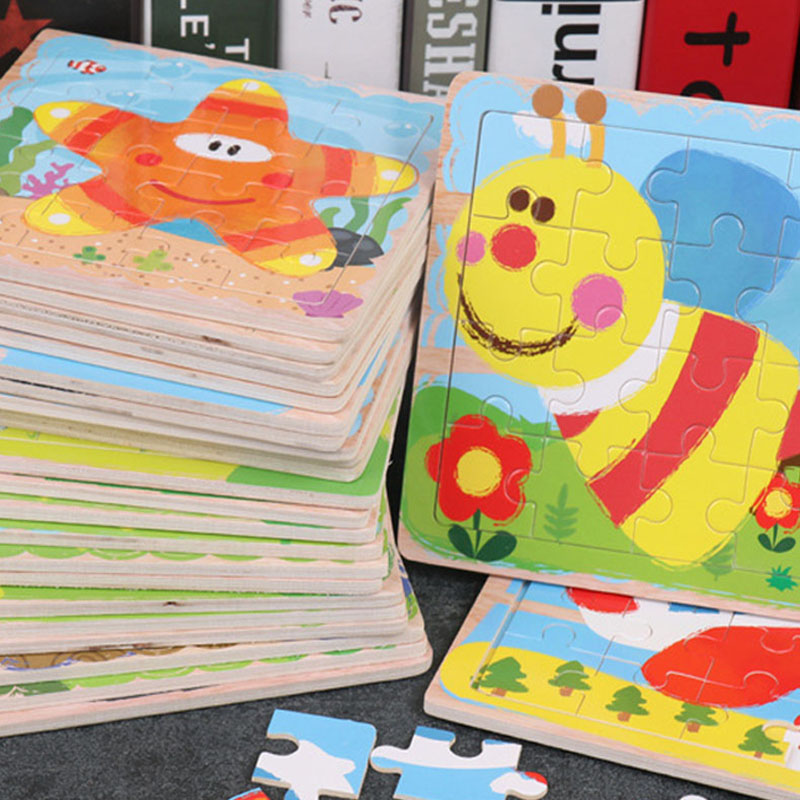 Early Education Toy Children's Toys 15*15*0.5CM Diy Cartoon Animal Jigsaw Puzzle Toys 16 Pieces Baby Gift Wooden