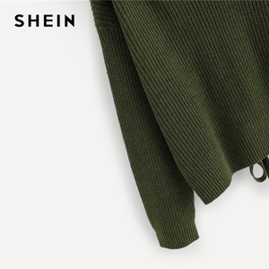 Image 3 - SHEIN Army Green Lace Up Back Drop Shoulder Sweater Pullover Women Autumn Winter Long Sleeve V Neck Casual Ladies Solid Sweaters