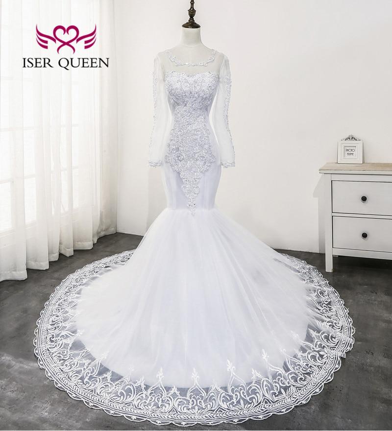 Pearls Beading Lace Mermaid Wedding Dress Pure White Color Plus Size Vestidos De Novia 2020 Long Sleeve Wedding Gown WX0177