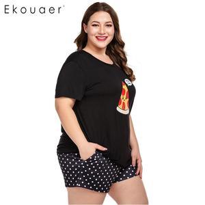 Image 5 - Ekouaer Women Plus Size Pajamas Sets O Neck Short Sleeve Nightshirt and Shorts Home Summer Pajama Set Loungewear