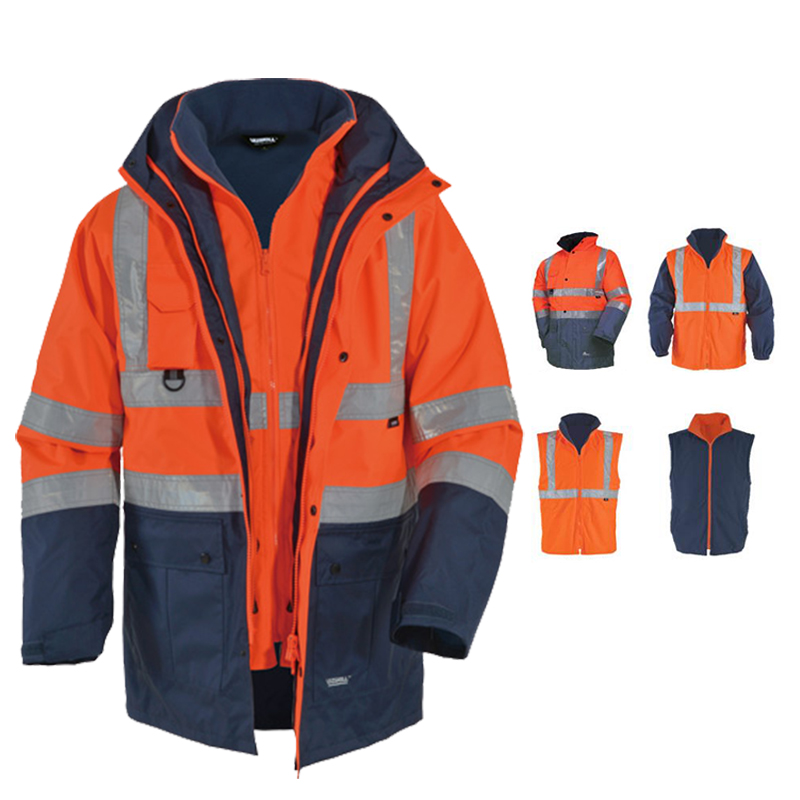 Image 2 - EN471 ANSI/SEA 107 AS/NZS  Hi vis waterproof 5 in 1 jacket with reflective tape safety workwear winter jacket-in Safety Clothing from Security & Protection