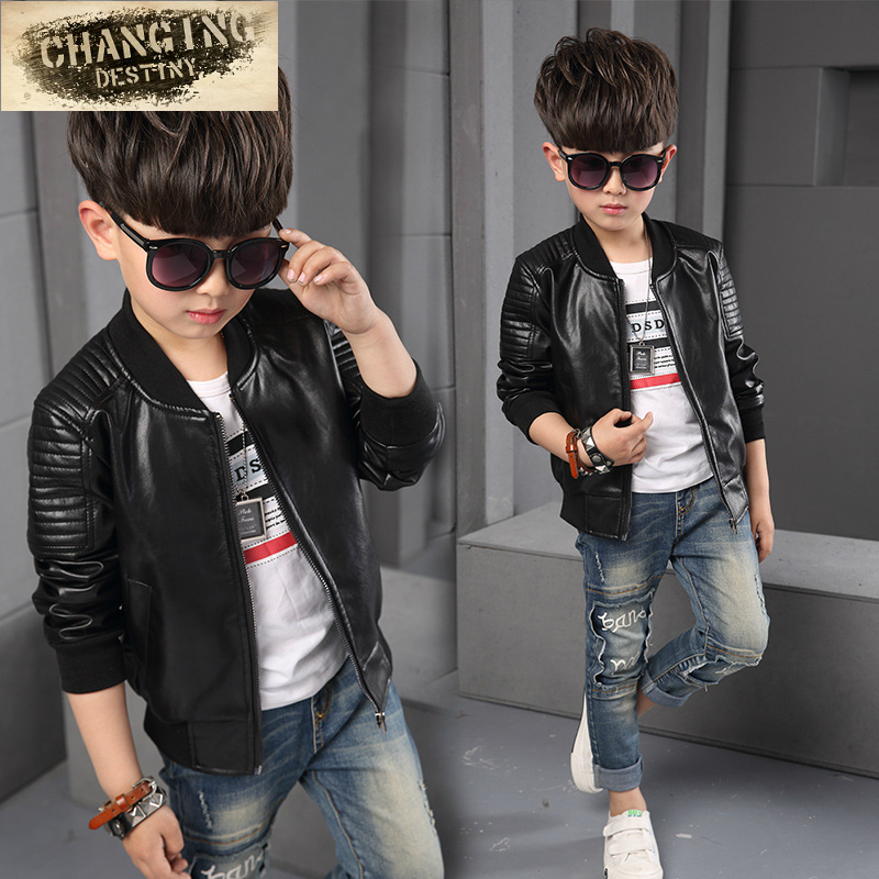 Jackets Children Clothing Coats Outerwear Faux-Leather Long-Sleeve Baby-Boy Kids Full
