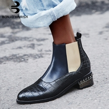 BONJOMARISA Hot Sale 32-48 Fretwork Booties Ladies Fashion Brand Ankle Chelsea Boots Women 2019 Winter Med Heels Shoes Woman
