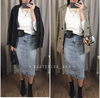 Long Denim Skirt Women Vintage High Wasit Jeans Skirt with Belt Plus Size Straight A-line Pencil Skirt Elegant Summer 2020 Chic