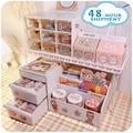 W&G 3pcs/Set Ins Kawaii Deskpot Organizer Makeup Storage Box 3 Shelf Container Drawer Cabinet Rack Send Sticker Home Decor 2021