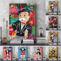 Graffiti Poster Artwork Monopoly Canvas Posters and Prints Rich Man Street Wall Art Painting Pictures for Modern Living Room