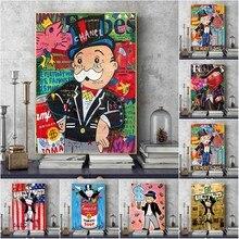 Cartaz da arte do graffiti monopoly lona cartazes e cópias homem rico rua arte da parede quadros para sala de estar moderna