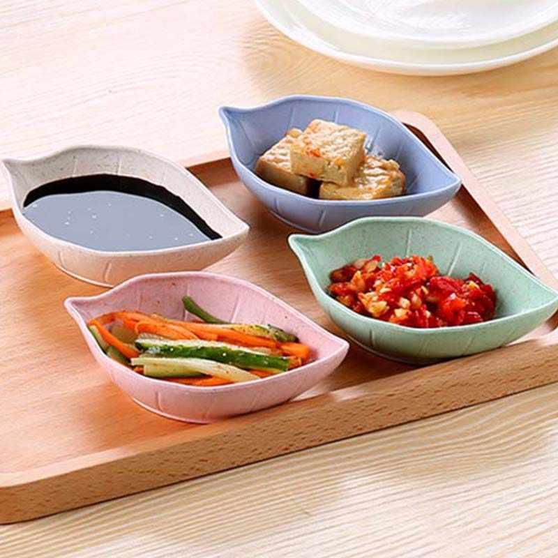 Creative Leavess จานเด็กชามฟางข้าวสาลีถั่วเหลืองซอสจานชามข้าวแผ่น Sub-แผ่นบนโต๊ะอาหารญี่ปุ่นอาหารคอนเทนเนอร์