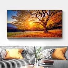 Золотая Осенняя картина С закатом на дереве пейзаж настенная