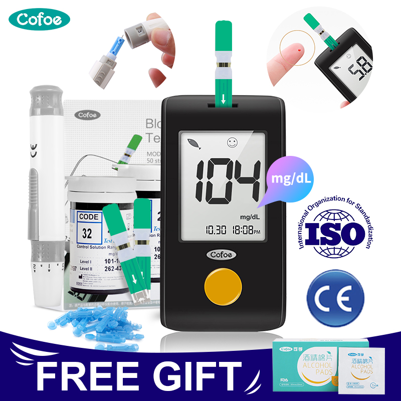 Cofoe YiLing Mg/dL Medical Glucose Meter Glucometer Household Health Monitor Diabetes Blood Sugar Monitor &Test Strip & Lancets