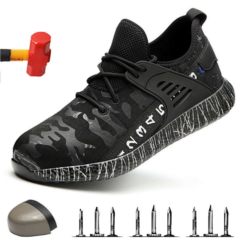 Non-slip Indestructible Work Boots; Outdoor Wear-resistant Deodorant Work Shoes; 2019 Anti-smashing Anti Puncture Safety Shoes