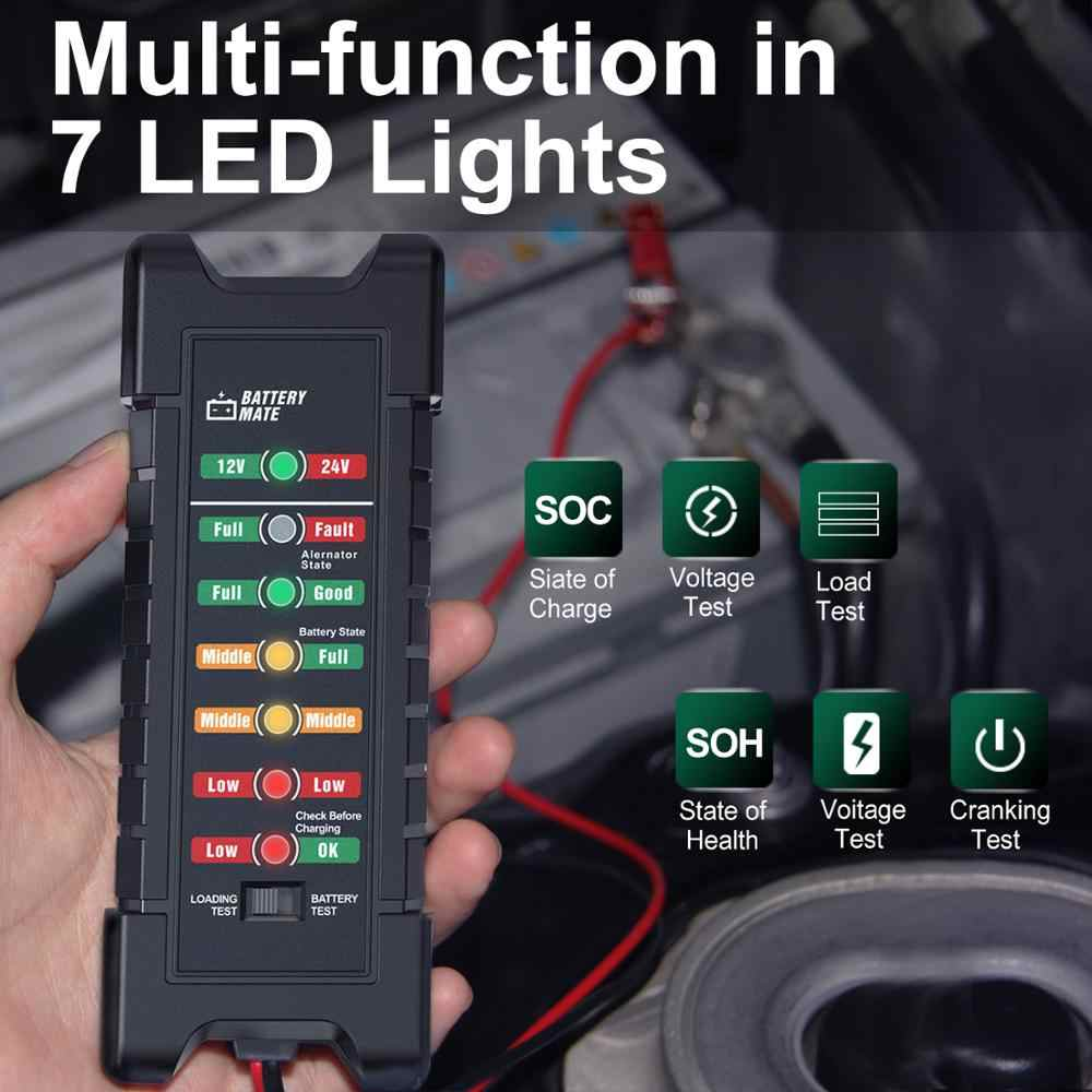 12V 24 V Tester akumulatora samochodowego szybki tester rozruchu Alternator 7 wyświetlacz LED światła Auto narzędzia diagnostyczne 24 V analiza baterii