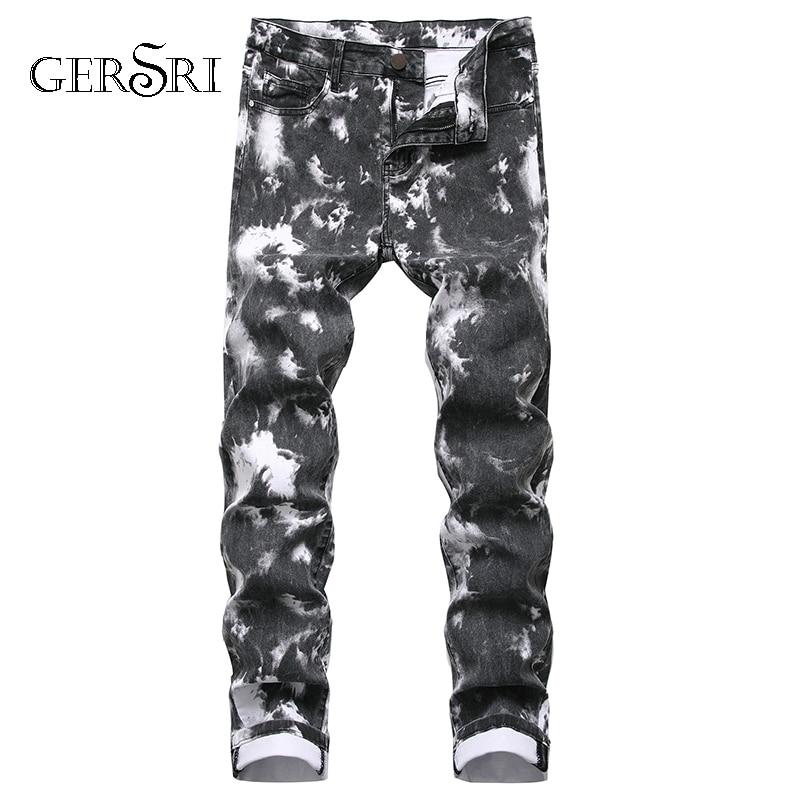 Gersri Men Zipper Jeans Jeans Brand New Quality Cotton Tight-fitting Men Slim Straight Jeans Pants