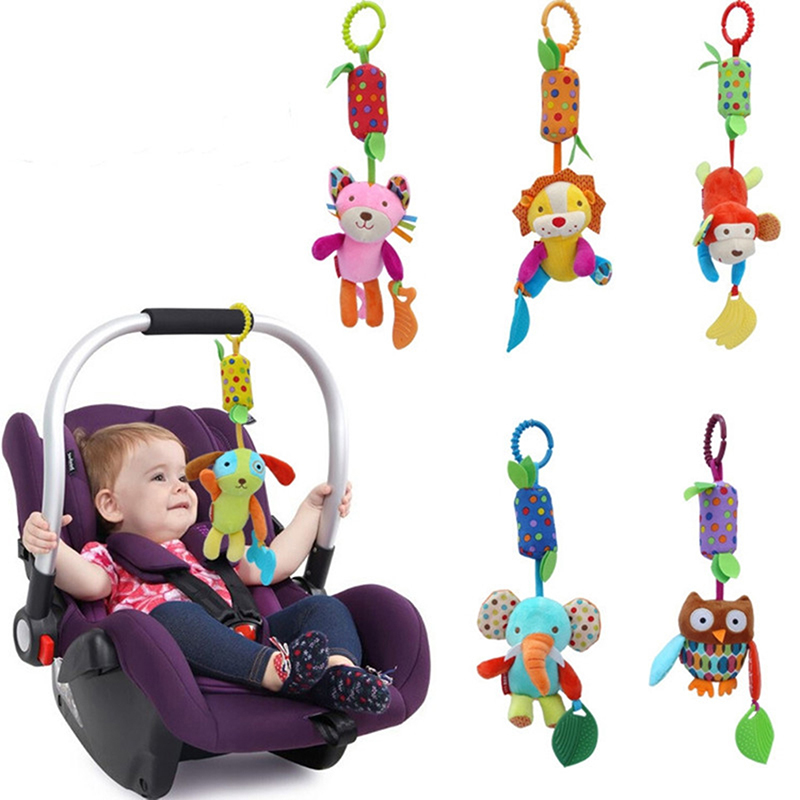 0-12 Months Newborn Baby Plush Stroller Toys Baby Rattles Mobiles Cartoon Animal Hanging Bell Educational Baby Toys Speelgoed