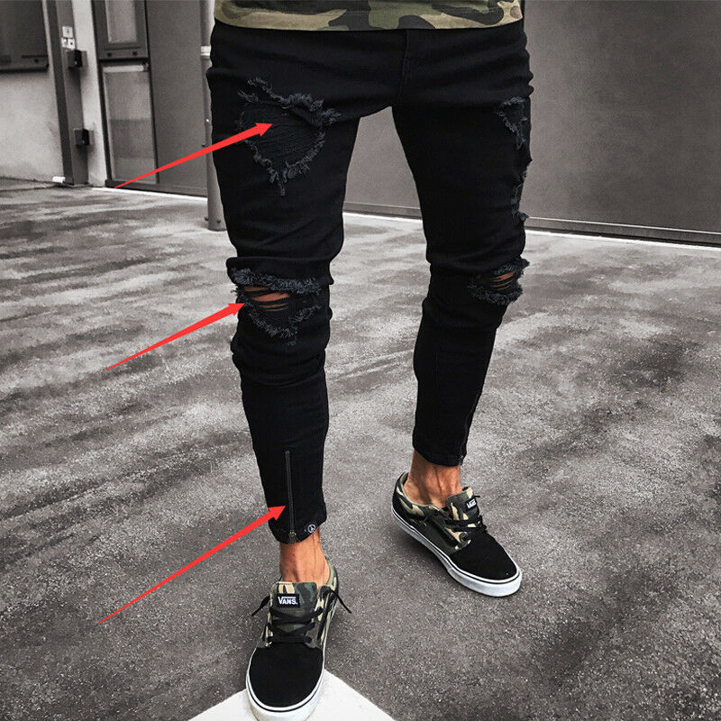 Mens Cool Designer Brand Black Jeans Skinny Ripped Destroyed Stretch Slim Fit Hop Hop Pants With Holes For Men